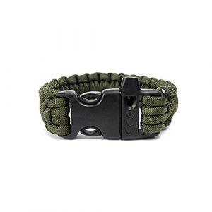Bracelet de survie, Hunpta extérieur Self-rescue Corde de parachute Bracelets Sifflet de survie Camping Kit de voyage, vert militaire