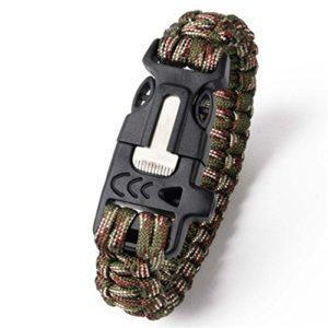 Camping Randonnée d'escalade Paracord Bracelet extérieur de survie Gear kit Sifflet sportif tactique en corde tressée Bracelet