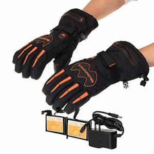Gants chauffants rechargeables Gants chauffants pour écran tactile avec batterie rechargeable Li-ion chauffants pour hommes et femmes, gants chauds pour la randonnée à vélo, la moto, le ski pour le ca