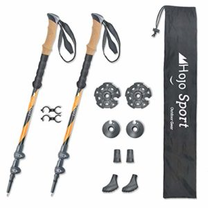 Hojo Sport Bâtons de Marche Télescopiques 3 brins pour Randonnée, Trail, Ski, ou Raquette, conçus en Aluminium Premium Renforcé