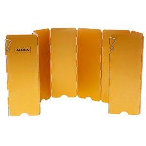 Tentock Aluminium coupe-vent 8plaques pliable extérieur cuisinière Vent écran Camping Pare-vent pour réchaud à gaz, jaune