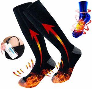 Drohneks Chaussettes chauffantes électriques – Batterie Chaussettes Chaudes Hommes & Femmes – pour Cyclisme Moto Randonnée Ski Alpinisme