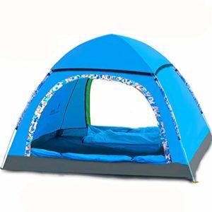 KCJMM Tente de Plage, Tente Pop Up, Tente de Camping 3-4 Personnes, Tente Pliante portative de Protection Solaire de Protection Solaire, Bleu