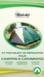 Kit polyvalent de réparation instantanée et sans colle pour tentes, sacs de couchage, matelas, bâches, toiles et autres matériels de camping et caravaning