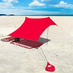 XISHUAI Plage de Tente avec Sac de Sable Ancres – 100% Lycra UPF50+ Protection Anti UV Etanche Abris – 210 cm x 210 cm Le Camping Randonnée Pêche