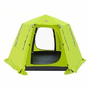 3-4 Personne Hexagon Yourte mongole Tente étanche Automatique Double Couche Pliant Camping pêche Four Seasons Tente de Plage (Color : Fruit Green)