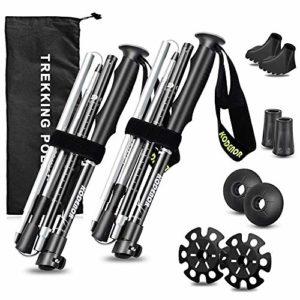 Bâtons de randonnée, bâtons de randonnée et de randonnée pliants-Bâtons de ski pliants, légers, ajustables, pour camping / sac à dos / raquettes à neige, aluminium 7075-Quick Lock, paquet de 2 (Noir)