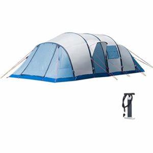 Camping Tente Gonflable, Tente Tunnel Bâtons Gonflables, Imperméable Coupe 8-10 Personnes Gros, Double avec Pompe À Air Quatre Saisons (Color : Blue)