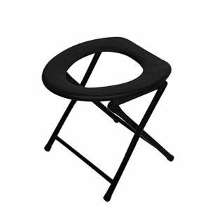 Chaises Portable Toilette Pliable Chaise Voyage Camping Escalade Pêche Renforcement Maté Chaise d'extérieur Activité Accessoires Pliable-Por (Color : Black)