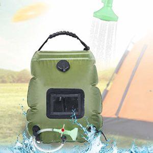 Denshinee Sac de Douche Solaire Camping 20L Voyage Chauffé à L'énergie Solaire Portable Eau Chaude avec Flexible Amovible à 45 ° C Tête de Douche Commutable pour Randonnée, Escalade