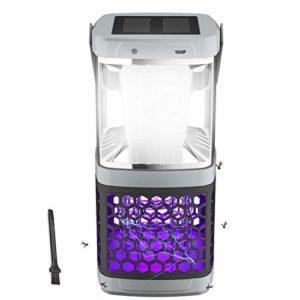 EXTSUD Lanterne Camping LED Lampe UV Anti Moustique 2 en 1 Etanche IP44 Portable Rechargeable par Solaire ou USB pour intérieur et extérieur