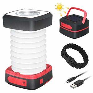GlobaLink Lampe Camping Solaire Lanterne LED Rechargeable 2 en 1 Extérieur Pliante de Poche Télescopique Câble USB Batterie 3 Luminosité 800mAh Durée Max 12H pour Randonnée Bivouac