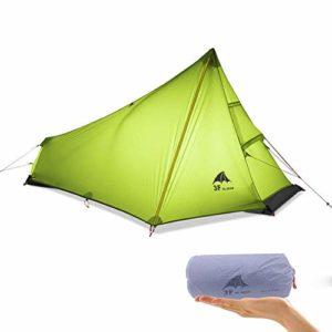 KIKILIVE 3F UL Tente de Camping Ultra-légère extérieure 3 Saisons 1 Personne Seule Tente Ultra-légère Revêtement en Silicone imperméable pour la Tente de Camping en Maille d'été