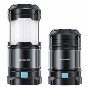 Lampe de camping – Lampe de camping étanche – Pliable – Lampe de camping LED rechargeable – 4 modes d'éclairage pour l'extérieur, la randonnée, la pêche, la chasse, le pique-nique