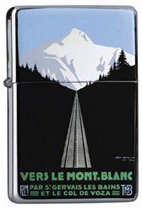 LEotiE SINCE 2004 Briquet Chromé Essence Tour du Monde Mont Blanc Montagnes Rarement Imprimé