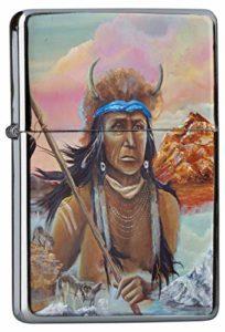 LEotiE SINCE 2004 Briquet Chromé Essence USA Autochtone Loups Antler catégorie Hunter Montagne Rarement Imprimé