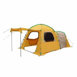 MENG Tente De Camping 4 Personnes À Double Usage Une Chambre Une Salle Tente Extérieure Étanche Porte Étanche Peut Être Supporté Tapis Amovible Adapté À La Randonnée en Plein Air Plage,Orange