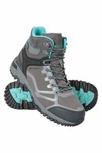 Mountain Warehouse Chaussures de randonnée à Lacets Odyssey pour Femme – en Softshell imperméable et Respirant – Antidérapantes – pour Camping, randonnée et Trekking Gris 39