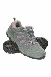 Mountain Warehouse Chaussures de randonnée Aspect ISOGRIP pour Femme – Imperméables et Robustes – Doublure en Maille – Amortisseurs au Talon et aux Orteils Gris 38