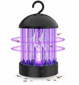 OKK Lampe Anti Moustique Électrique UV Portable, Etanche IP66 Tue Mouches Destructeur D' Insectes, 2 en 1 Rechargeable BatterieLampe avec USB C Cable, Our Maison, Bureau, Camping, et Extérieur