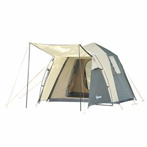Outsunny Tente Pop up Montage instantané – Tente de Camping familiale 3-4 pers. – 2 Portes + 2 fenêtres + Chambre – dim. 2,25L x 4,45l x 1,75H m Fibre Verre Polyester Oxford Beige Vert Kaki