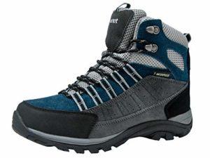 riemot Chaussure de Randonnée Montantes Femme et Homme, Bottes de Marche Trekking Escalade Montagne Outdoor Sport Impermeable Légères Gris/Bleu 37 EU