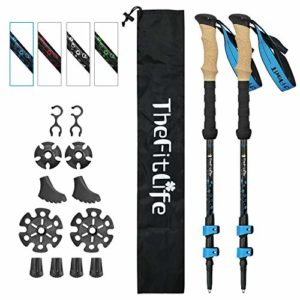 TheFitLife Lot de 2 bâtons de Marche Nordique de Trekking – 100% Fibre de Carbone, Pliables et télescopiques, Ultra légers, Extensibles, Les Baton de Marche pour Le Camping,Bleu
