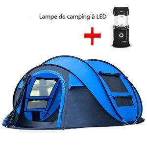 TJ-DZSW Tente Dôme 3-4 Personnes Outdoor de Camping Familiale avec,Lampe de Camping LED,Pop-Up Automatique pour Une Installation Rapide et Facile,Imperméable,Blue