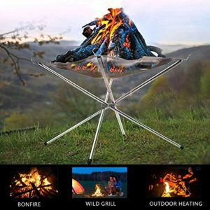 Chenjjj Brasero portable de camping en maille d'acier inoxydable pliable pour terrasse extérieure