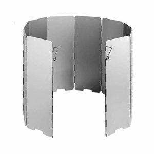 Coollooda Pare-Brise de Camping en Plein air Pare-Brise en Aluminium de 10 plaques pour équipement de Camping de Pique-Nique pour Barbecue 10 Plates