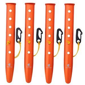 GEERTOP Piquet de Tente Camping Léger Sardine en Alliage d'Aluminium avec Crochet Connexion Corde pour Randonnée Sable Neige (Orange, 31 cm)