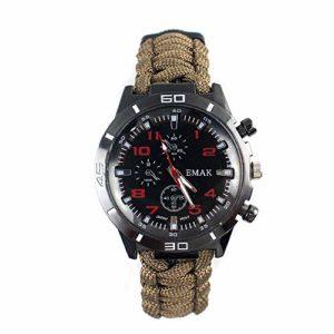 Huanxin Survival Bracelet Montre, Hommes Survie Paracord Bracelet avec Boussole Flint Allume-feu Scraper sifflet Vitesse pour la randonnée, Navigation de Plaisance