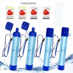 ioutdoor Paille Filtre Eau Personnel sans BPA avec Urgence Couverture,Portable Purificateur Eau Poids Léger Certifié CE FDA pour Randonnée Camping Survie Extérieur en Voyageant Urgence (4)