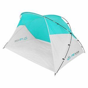 FE Active Tente Abri de Plage – Parasol de Plage Tente Familiale Coupe Vent, Tente de Plage Instantanée, Portable, Anti UV Bébé Tente Pop Up pour Le Camping, Randonnée, Voyages | Conçue en Californie