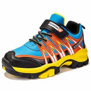 HSNA Chaussures de Randonnée Basses pour Enfants Garçons Fille Anti-dérapant Chaussures de Sports Baskets Bottes de securite Imperméable(A03 Jaune et Bleu 34 EU)