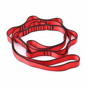 Rtengtunn Escalade Nylon Daisy Chain Corde avec Boucles Yoga Hamac Bandoulière à Sangle Suspendue – Rouge