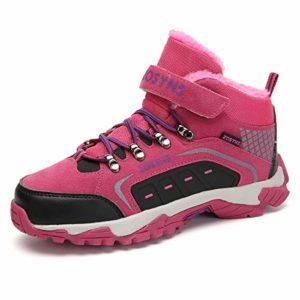 ZOSYNS Enfant Bottes de Neige Filles Hiver Chaussures Bottines Chaussures de Randonnée Enfant Chaussures de Multisports Outdoor pour Escalade Trail Marche Nordique Rose 34