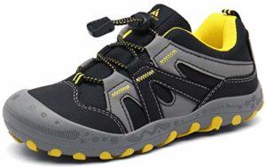 Mishansha Chaussures de Randonnée Enfant Chaussures de Sport Garcon Running Chaussures de Marche Fille Confortable Lacets Autobloquants Noir 33