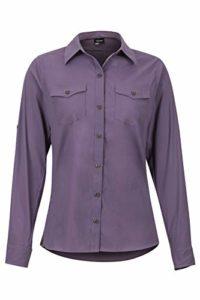 Marmot Wm's Annika Long Sleeve T-Shirt Manche Longue, Chemise de randonnée, avec Protection UV, Respirante Femme, Vintage Violet, FR (Taille Fabricant : XS)