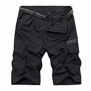 Shorts de randonnée en Plein air pour Hommes Shorts Tactiques imperméables à séchage Rapide d'été Black XXL