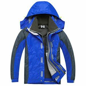 CHAO TA Enfants 3 en 1 Coupe-Vent Imperméable Respirant Manteau Outdoor Sport Escalade Camping Randonnée Veste (Large, Bleu)