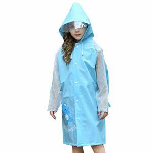 CLISPEED Enfants Imperméables à Capuche Poncho de Pluie Combinaison de Protection Vêtements de Pluie avec des Poches de Sac à Dos pour Le Cyclisme en Plein Air Escalade Camping Randonnée
