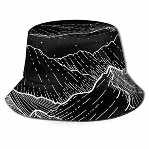 GAHAHA Bucket Chapeaux Pour Hommes Été Chasse Noir Montagnes Extérieures Chapeau Respirant Soleil Protection UV Garçons Pliable Casquette Pêcheur