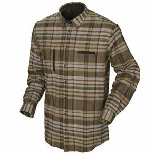 Härkila Chemise de chasse à carreaux en coton pour homme – Chemise à manches longues en flanelle pour l'extérieur – Chemise de randonnée et trekking pour homme, taille : M, couleur : kaki