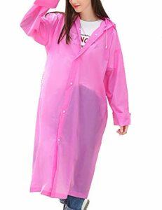 Imperméable, imperméable en EVA épaississement escalade en plein air imperméable épaississement voyage imperméable siamois adulte, adapté pour les pluies extérieures, réutilisable ( Color : Pink )