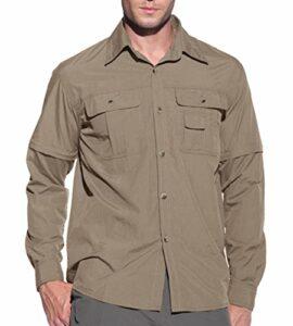 KEFITEVD Chemise de Randonnée à Séchage Rapide pour Homme Chemises Convertibles en Safari Chemises de Travail Décontractées Kaki
