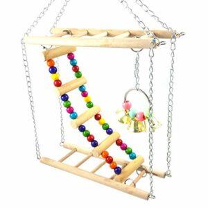 Pigup Pet Suspension hamac Escaliers coloré Escalade Balançoire échelle Oiseaux en Bois Grimpez Exercice Jouet Petits Animaux Cage Jouet