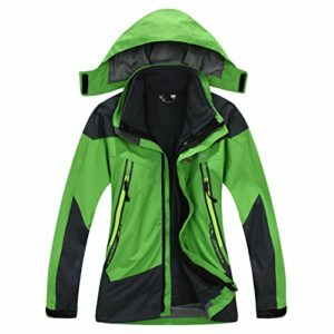 SYRINX Enfants 3 en 1 Veste Coupe-Vent Capuche Imperméable Outdoor Camping Randonnée Trekking Manteau avec Veste Polaire (Small, Vert)