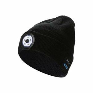 5.0 Bonnet Bluetooth Lampe Avec Led Frontal,lighted Beanie Cap USB Rechargeable Avec Bonnet Tricoté Musical Léger,Running Hat Pour La Course À Pied Randonnée Unisexe Pêche De Nuit Lumière LED