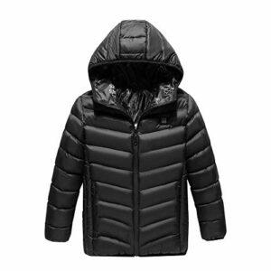 Doudoune chauffante électrique pour enfant rechargeable par USB en coton pour le camping et le ski d'hiver, noir, 150 cm